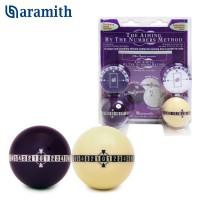 Набор бильярдных шаров тренировочный для пула Aramith Aiming by the Numbers Pool ø57,2мм 2шара/блистер